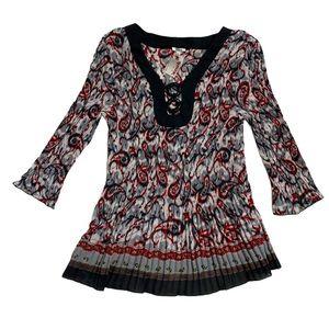 Boho Paisley pleated crinkle blouse circle hoops